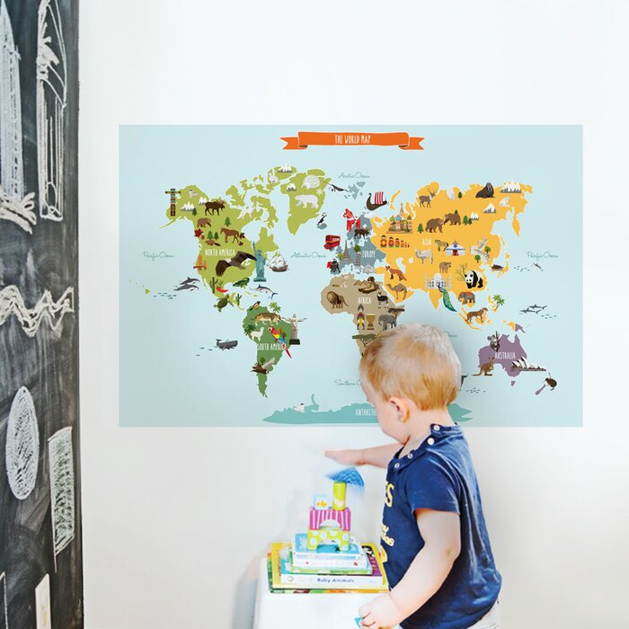 Simpleshapes childrens world map poster wall decal wayfair childrens world map poster wall decal gumiabroncs Images