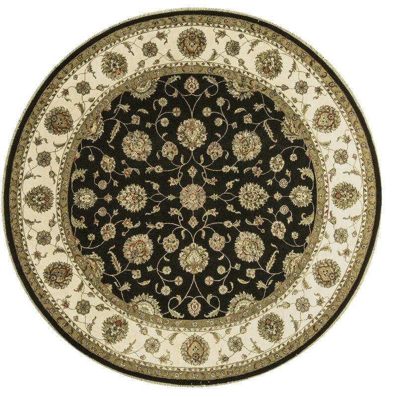 Bokara Rug Co., Inc. One-of-a-Kind Dharma Handwoven Round 102 Wool/Silk Beige/Black Area Rug
