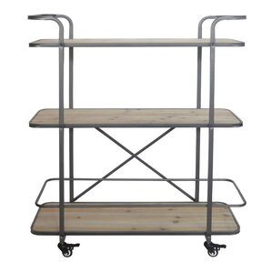 Micheala 3 Tier Wood Shelf Bar Cart by 17 Stories