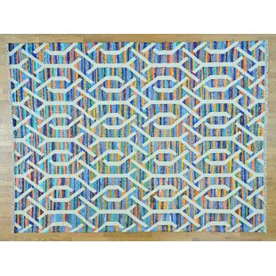Top Reviews One-of-a-Kind Gage Handmade Kilim 9' x 12' Wool Blue/White Area Rug By Isabelline