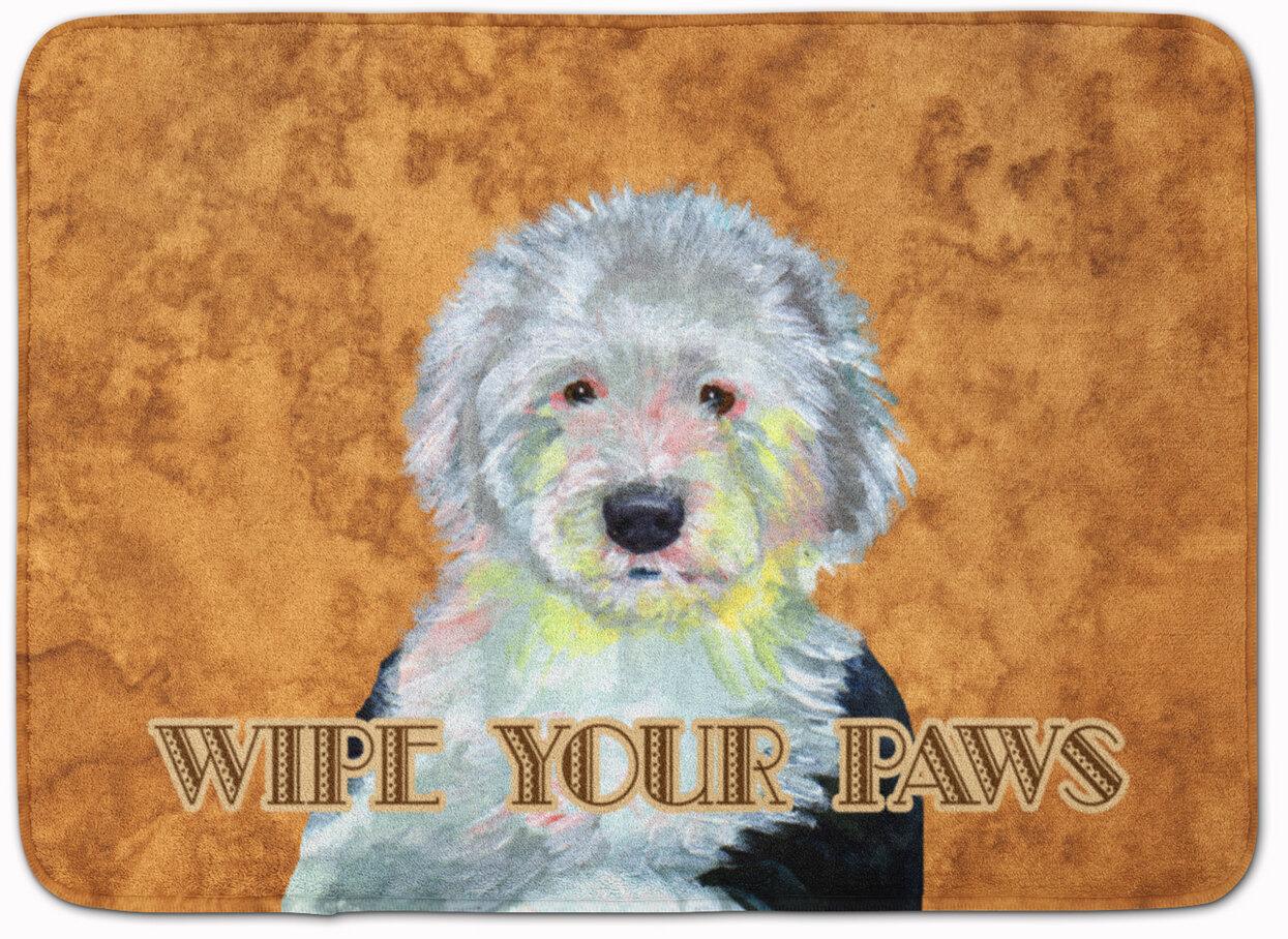 Old English Sheepdog Wipe Your Paws Memory Foam Bath Rug