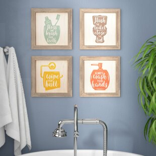 Exceptionnel U0027Floss, Flush, Wipe, Washu0027 Framed Graphic Art Print Set On Wood (Set Of 4)