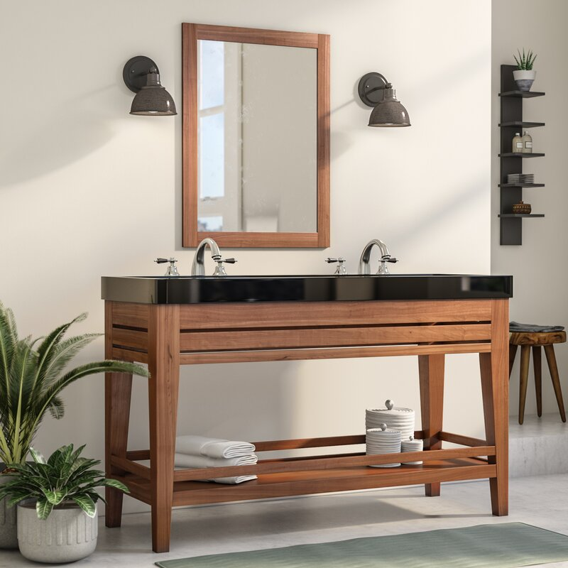 "Rustic Bathroom Vanity Set: Union Rustic Madalyn 60"" Double Bathroom Vanity Set"