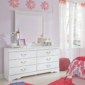 Kurt 6 Drawer Wood Double Dresser with Mirror by Harriet Bee