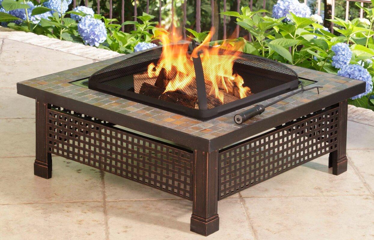 Bradford Metal Wood Burning Fire Pit Table