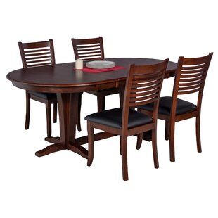 Doretha 5 Piece Solid Wood Dining Set with Dual Pedestal Table