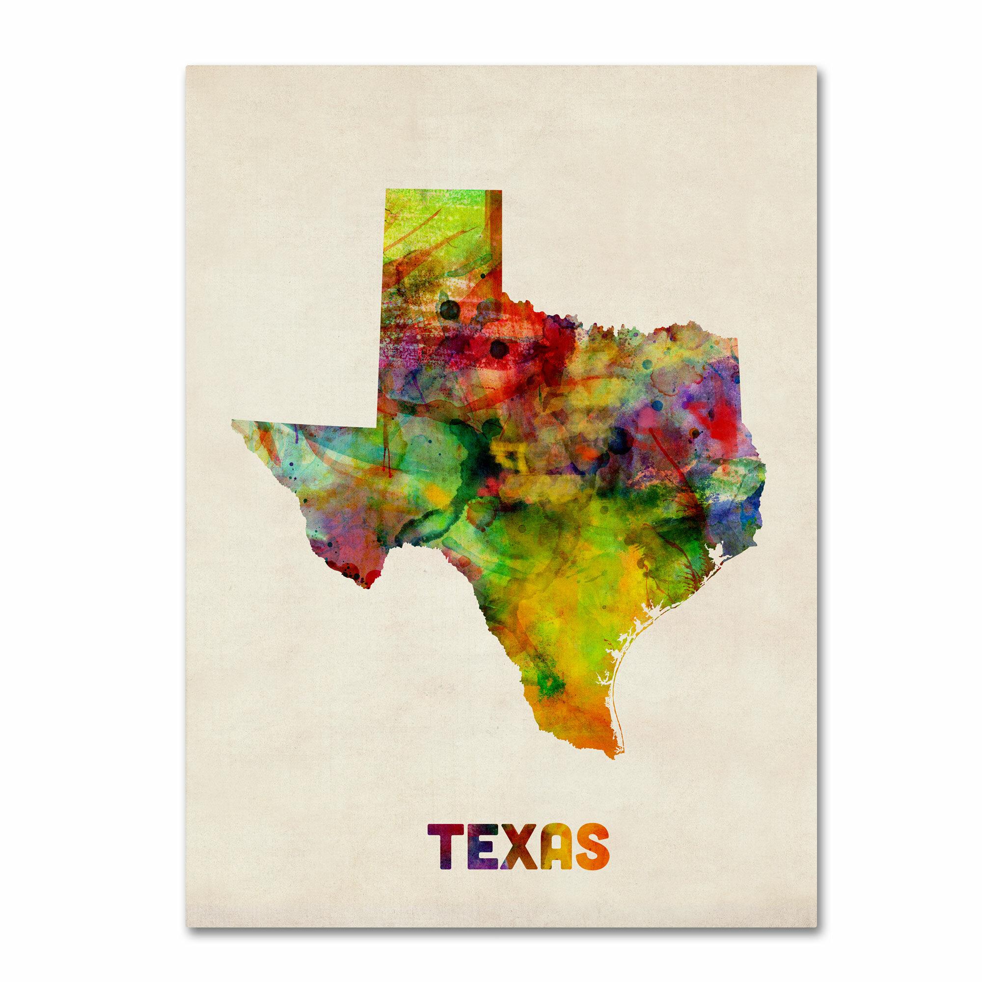 Trademark Art \'Texas Map\' by Michael Tompsett Framed Graphic Art on ...