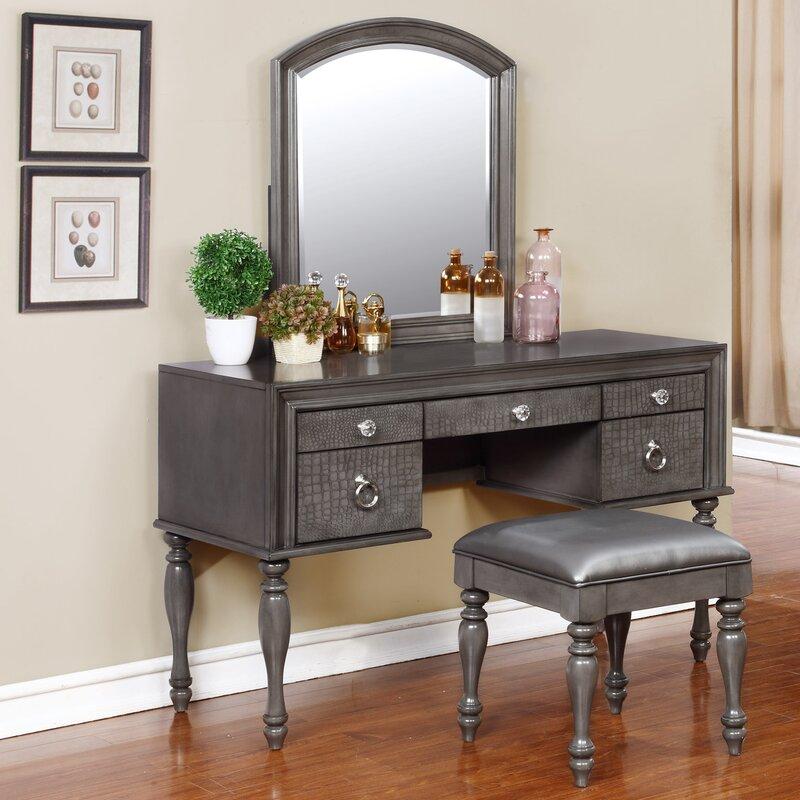 Exceptional Vanity And Mirror Set Part - 2: Florine Vanity Set With Mirror