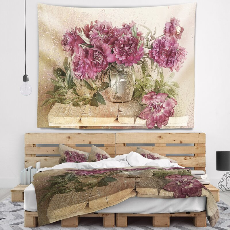Floral Bouquet of Pink Peonies Tapestry