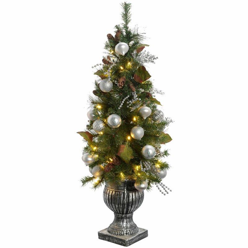 Künstlicher Tannenbaum Im Topf.Künstlicher Weihnachtsbaum 122 Cm Grün Mit 50 Leuchten Und Topf