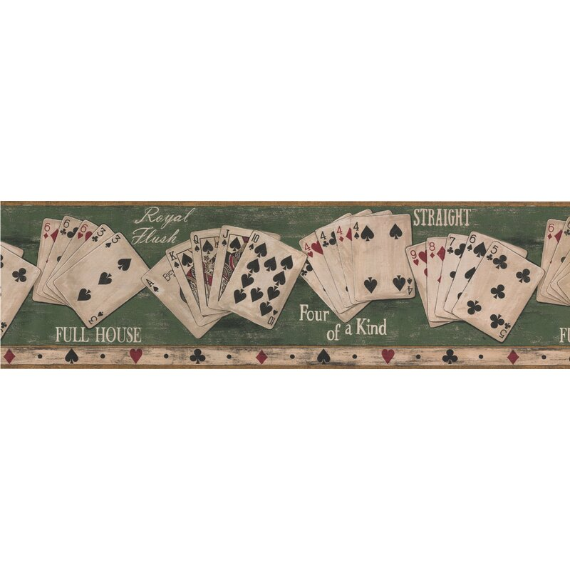 "Winston Porter Detweiler Poker Hands Vintage 15'L x 7""W Retro Wallpaper Border | Wayfair"