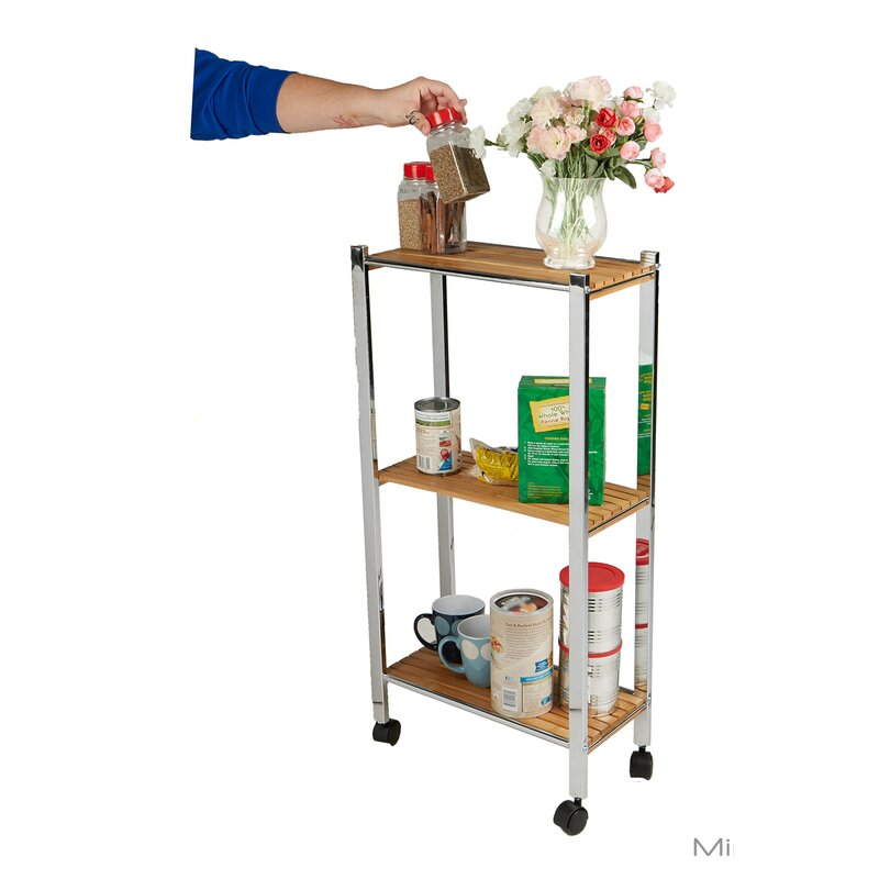 3 Tier Slim Eco Friendly Bamboo Kitchen Cart