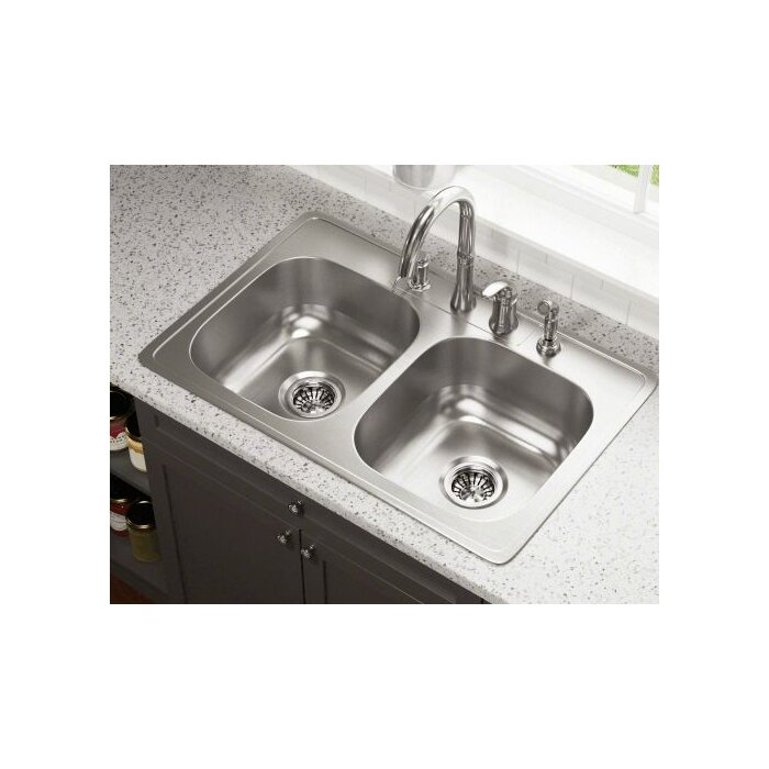 Terrific 33 L X 22 W Double Bowl Drop In Stainless Steel Kitchen Sink Complete Home Design Collection Lindsey Bellcom