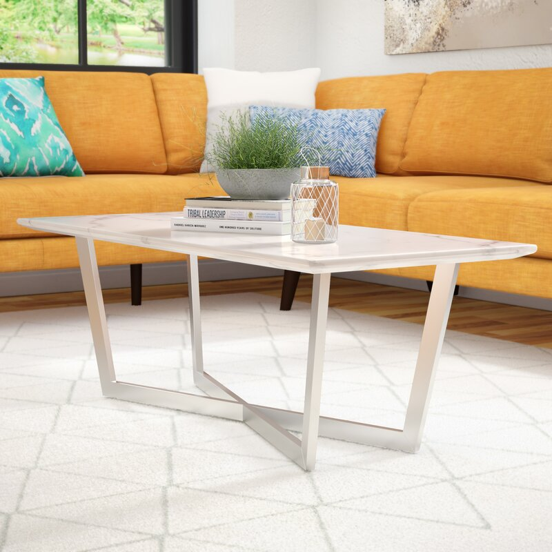Rectangle Faux Marble Coffee Table: Brayden Studio Rosenbalm Faux Marble Coffee Table
