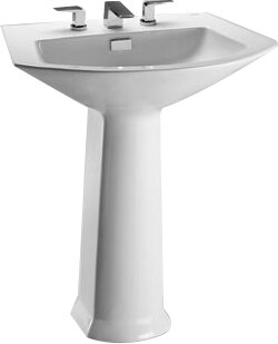 Soiree Vitreous China 26 Pedestal Bathroom Sink With Overflow