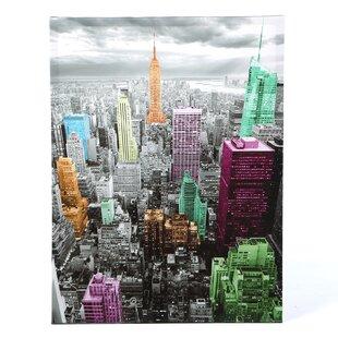 u0027Highlights of New York Skylineu0027 Graphic Art on Canvas  sc 1 st  Wayfair & New York Skyline Wall Art | Wayfair