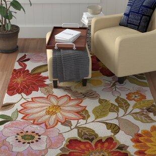 Pink floral rugs youll love wayfair kriszara hand hooked greenred area rug mightylinksfo