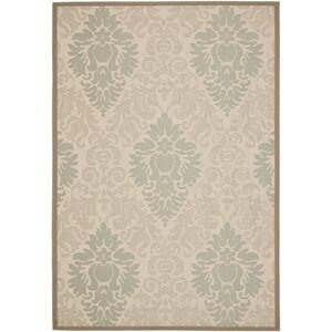 Short Beige/Dark Beige Indoor/Outdoor Area Rug