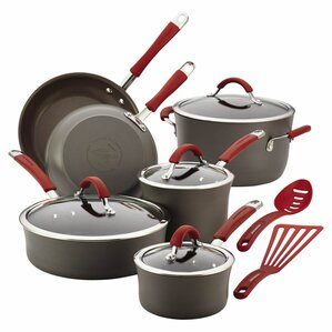 12-Piece Anodized Aluminum Cookware Set in Red by Rachael Ray