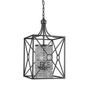 Darcella Crystal Beaded Iron 3-Light Foyer Pendant