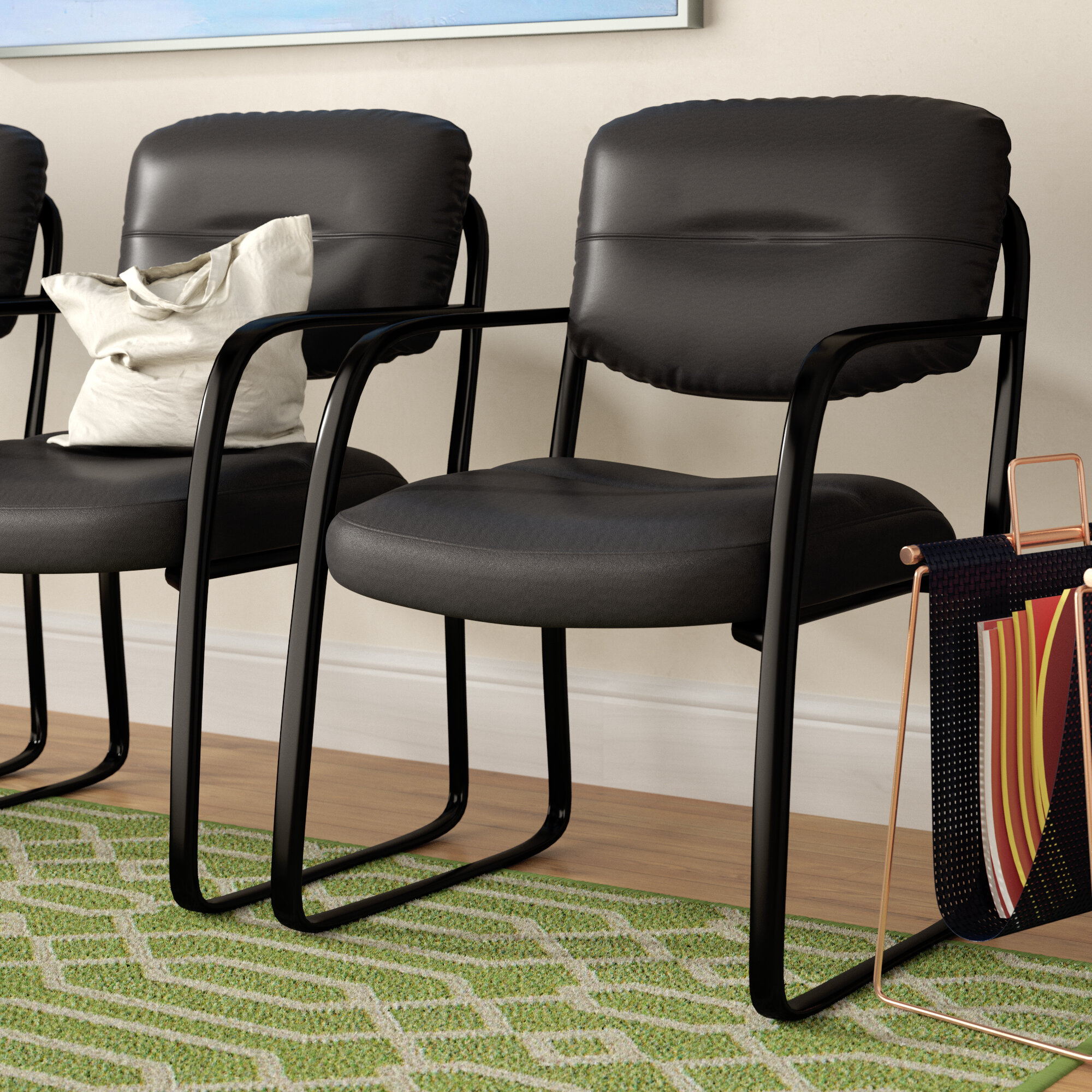 Symple Stuff Leather Guest Chair With Scratch Resistant Finish Reviews Wayfair