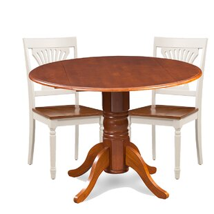 Brenton 3 Piece Drop Leaf Breakfast Nook Solid Wood Dining Set