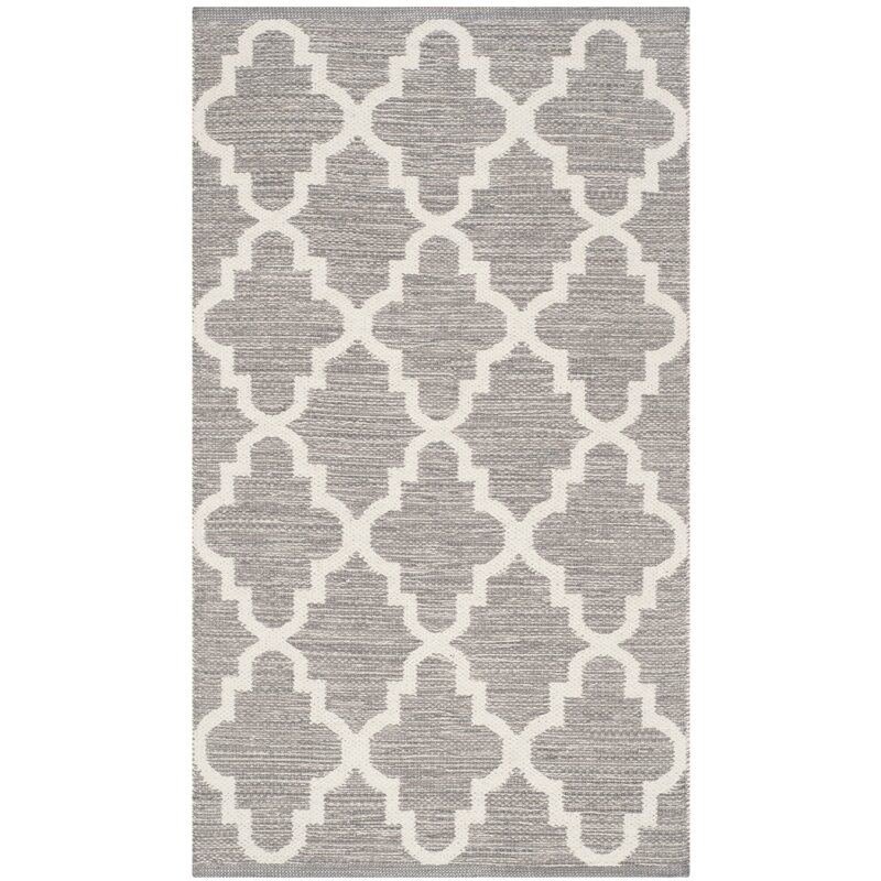 Alcott Hill Valley Hand-Woven Cotton Gray/White Area Rug, Size: Rectangle 8 x 10