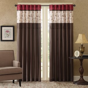 Brierwood Embroidered Nature/Floral Semi-Sheer Rod pocket Single Curtain Panel