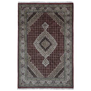Seaway Hand-Woven Wool/Silk Rectangle Red Area Rug
