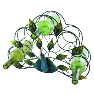 Tressie Beautiful and Colorful Peacock 5 Bottle Tabletop Wine Rack