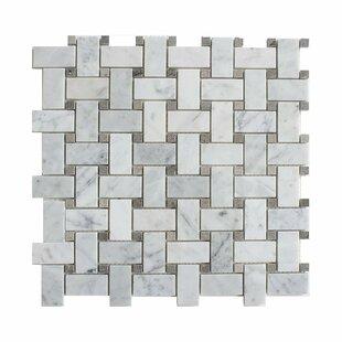 Carrara Basketweave 1 X 2 Marble Mosaic Tile In White