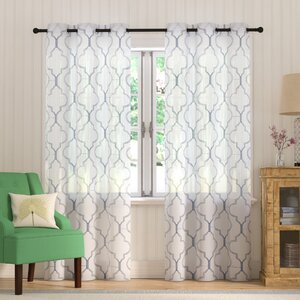 Sorensen Geometric Sheer Grommet Curtain Panels (Set of 2)