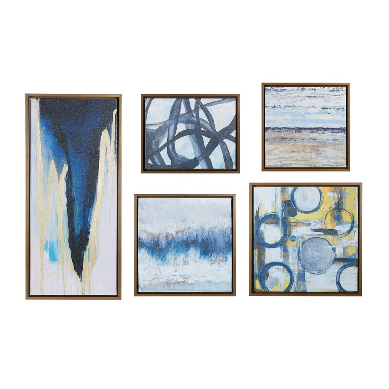 17 Inspiring Wonderful Black And White Contemporary: 'Blue Bliss' 5 Piece Framed Graphic Art Print Set On Wood