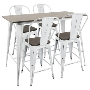 Natasha High Back Industrial 5 Piece Counter Height Dining Set by Gracie Oaks