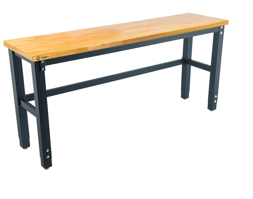 Trinity 72 Quot W Adjustable Height Wood Top Workbench