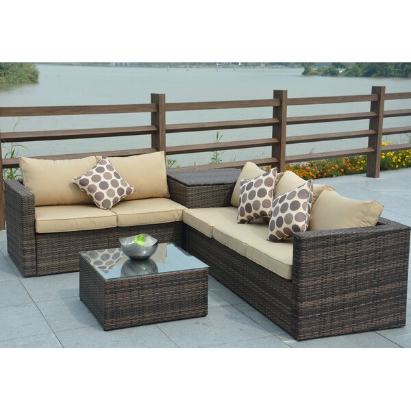 DirectWicker Jasmine 4 Piece Sofa Set With Cushions