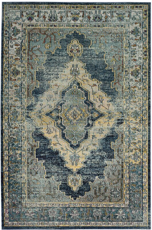 Wonderful Michiana Blue/Yellow Area Rug