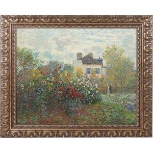 'The Artist's Garden' by Claude Monet Framed Painting Print