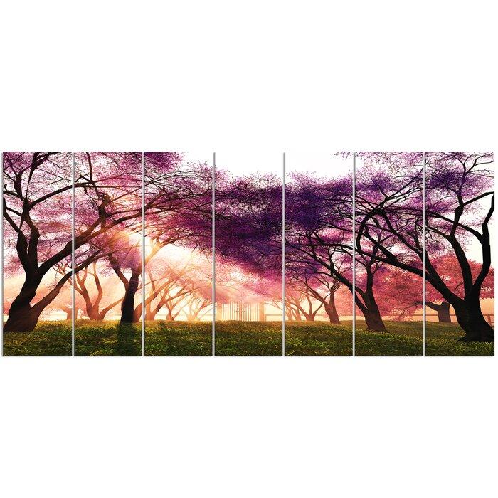 U0027Cherry Blossoms Japan Gardenu0027 7 Piece Photographic Print On Wrapped Canvas  Set