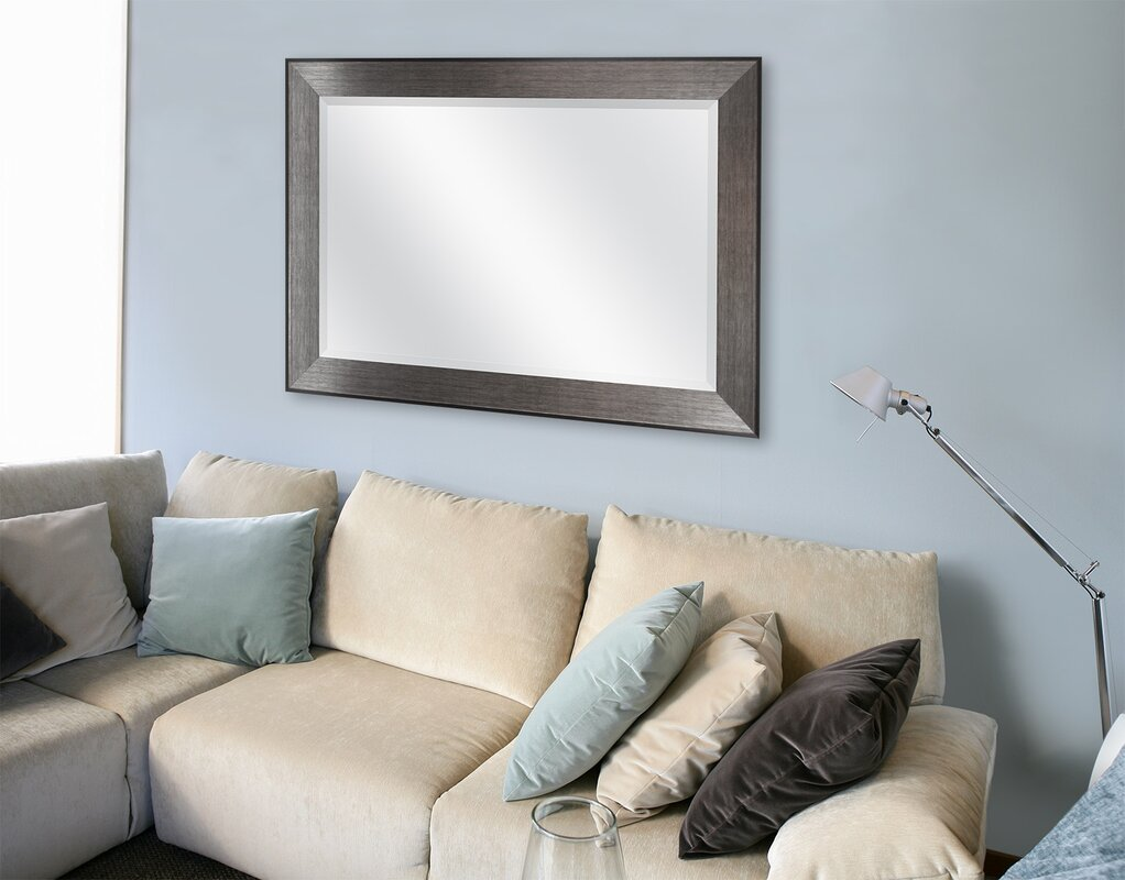 Attractive Rectangle Pewter Beveled Wall Mirror Part 27