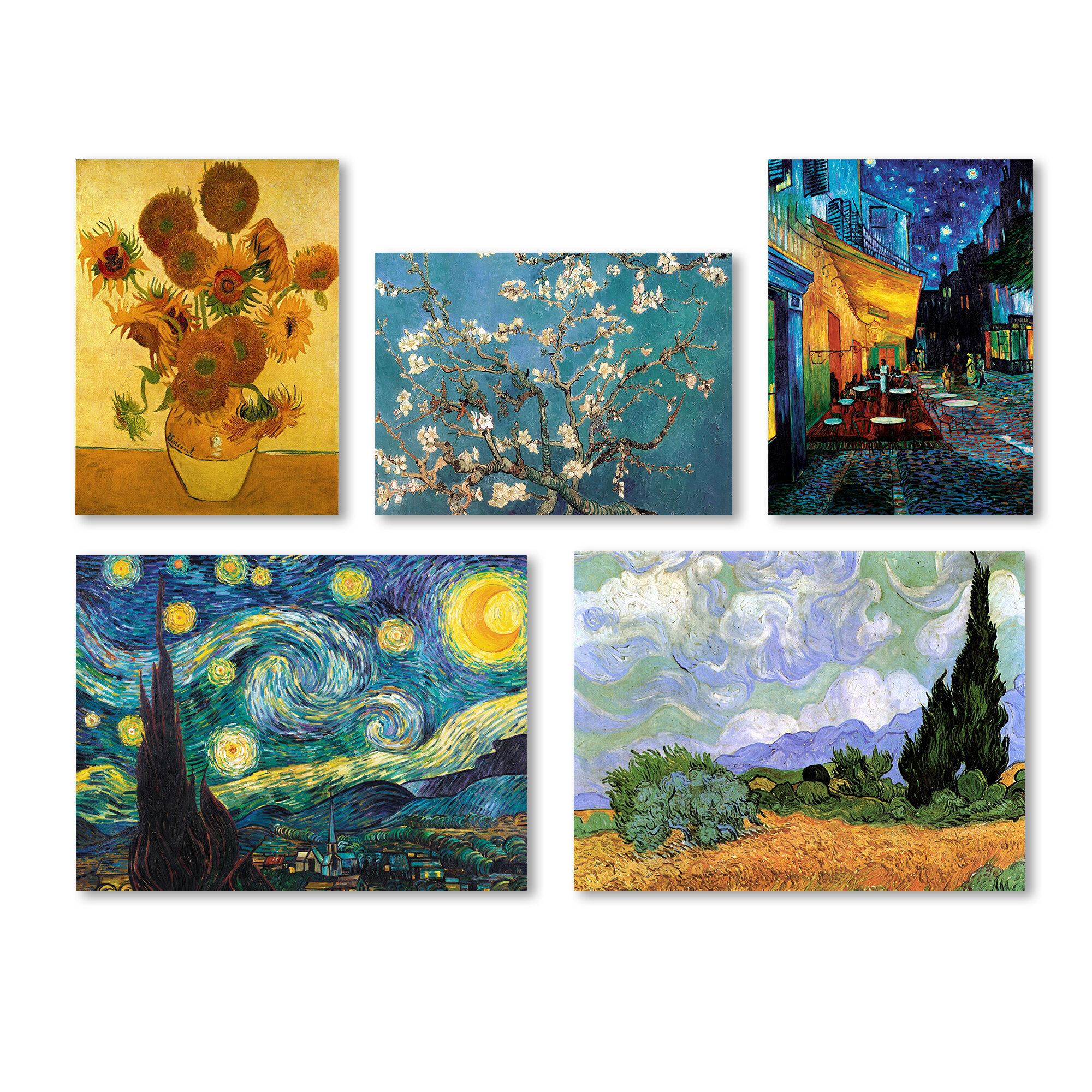 charlton home 5 piece graphic art by vincent van gogh painting print