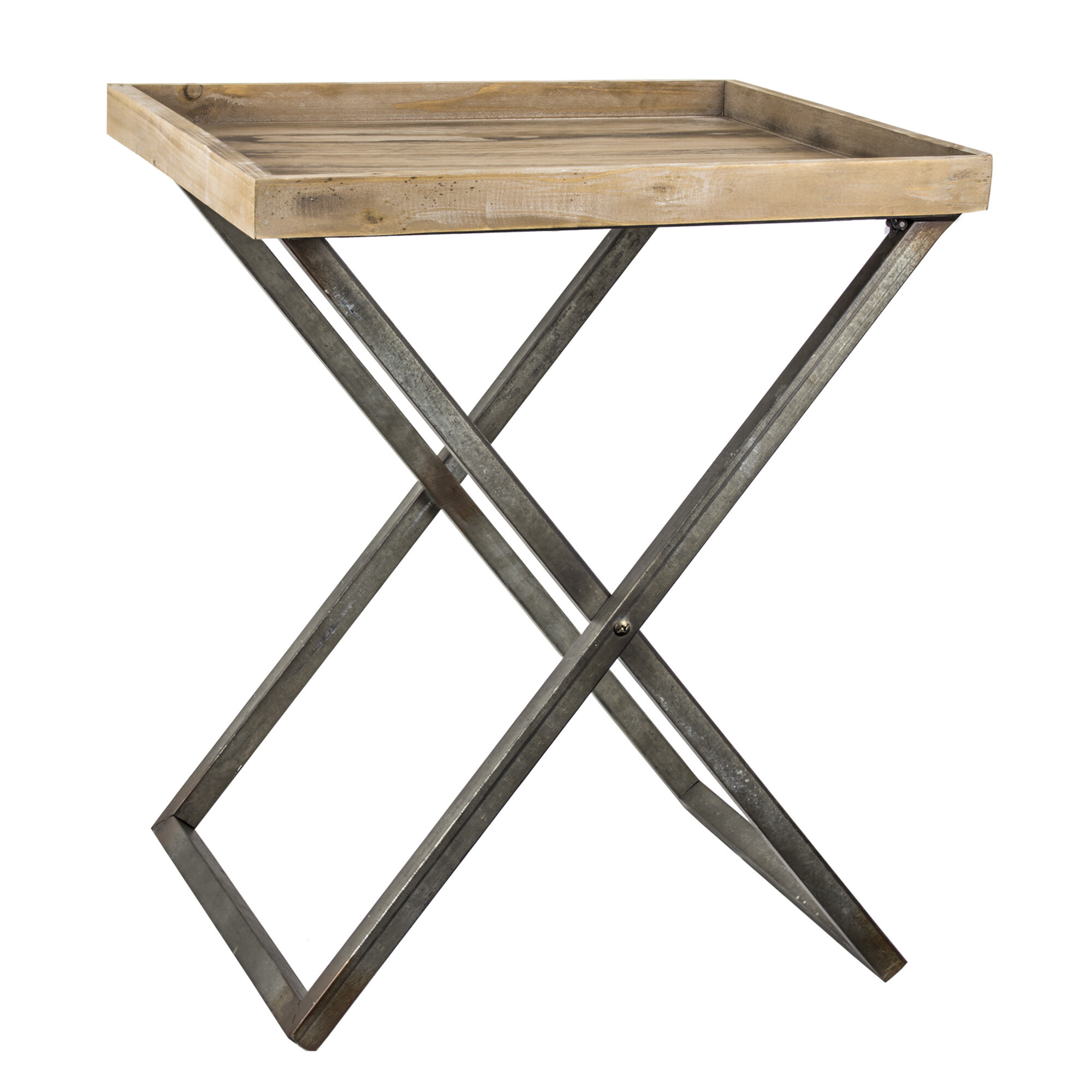 Amazing Delicia Decor Wood And Metal Card Tray Table Home Remodeling Inspirations Cosmcuboardxyz