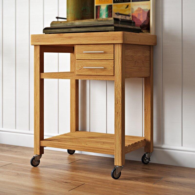 Loon Peak Powderhorn Kitchen Cart With Bamboo Top Reviews Wayfair
