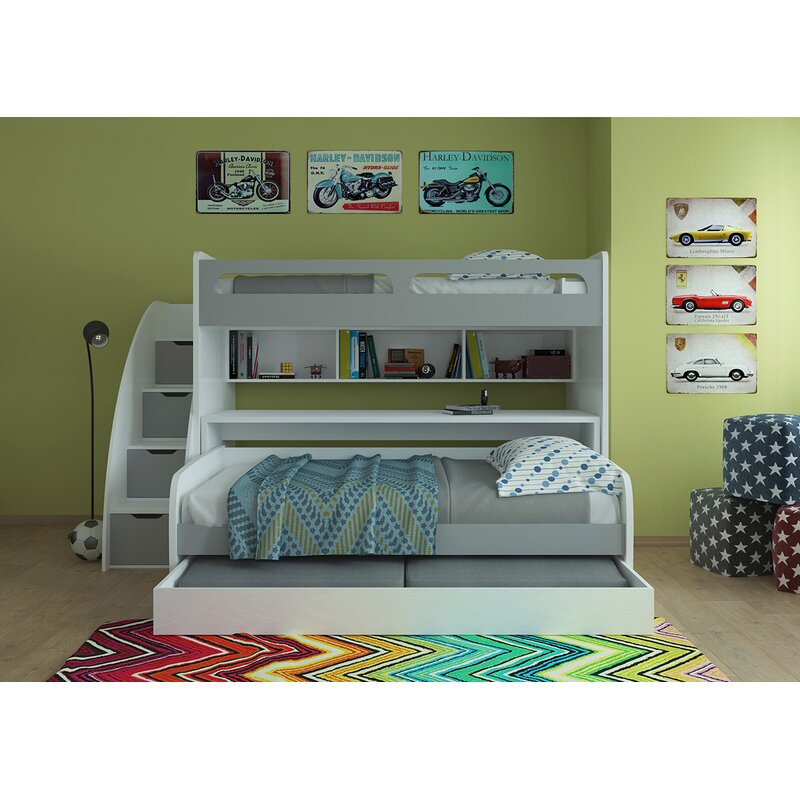 Gautreau Twin Bunk Bed Over Full XL Sofa Bed, Table And Trundle