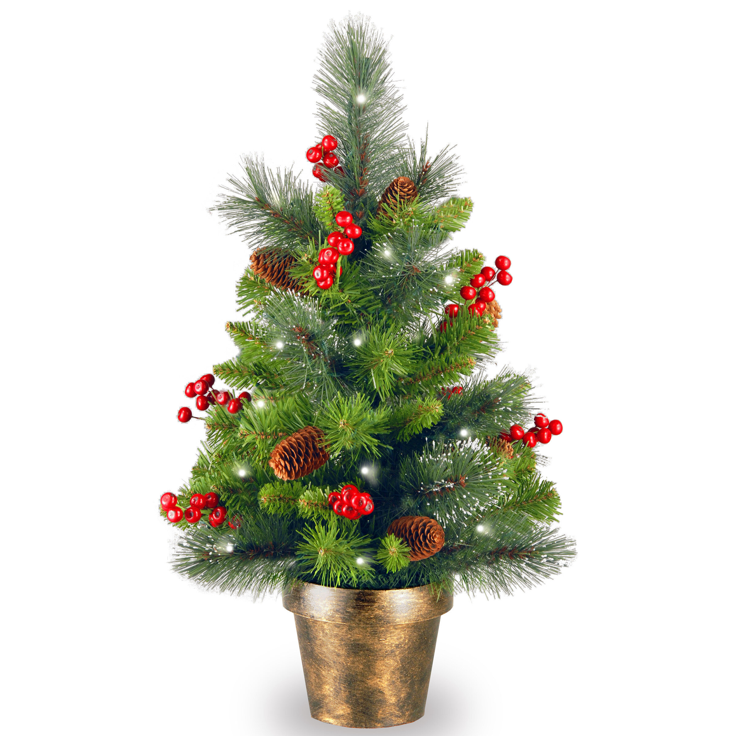 Spruce Small 2 Green Artificial Christmas Tree With 35 White Lights Led Reviews Joss Main