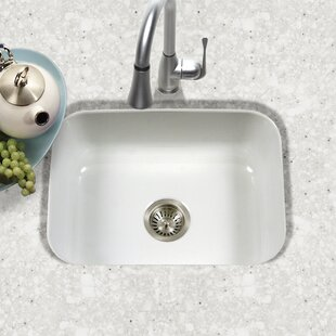 Porcela 22 76 L X 17 4 W Porcelain Enamel Steel Undermount Single Kitchen Sink
