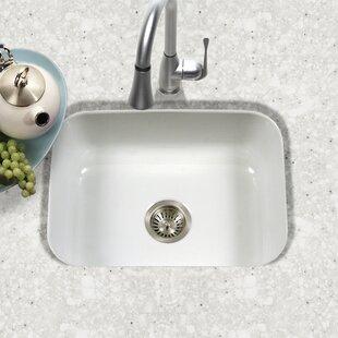 Porcela 22 76 L X 17 4 W Porcelain Enamel Steel Undermount Single Kitchen Sink