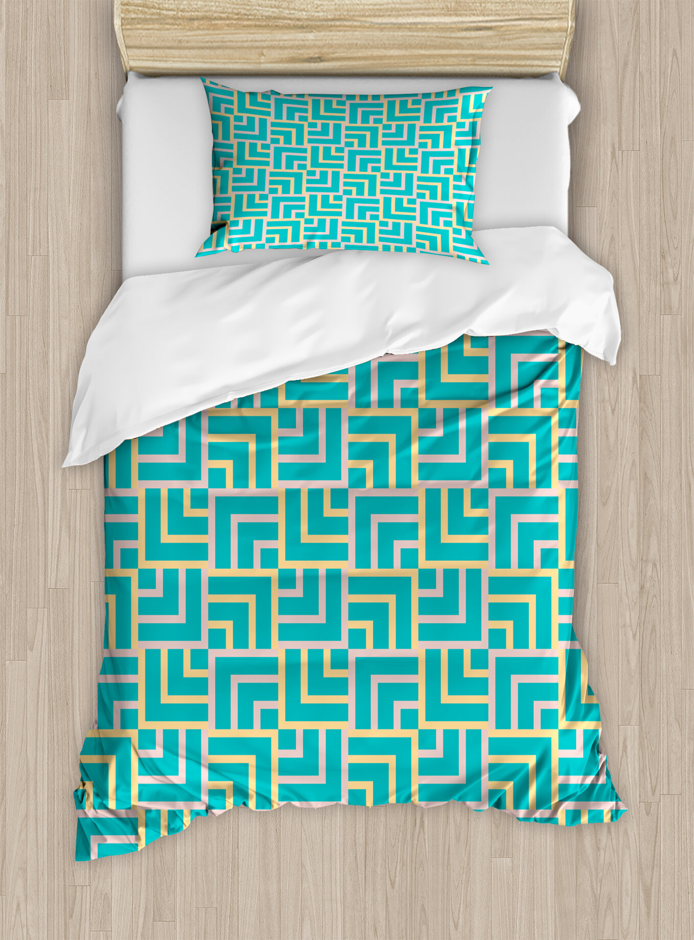 Ambesonne Art Deco Style Shapes Like Geometrical Squares With Lines - Geometrical-shapes-on-bedding