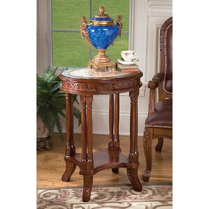 Balfour Inlaid Marble Colonnade End Table by Design Toscano
