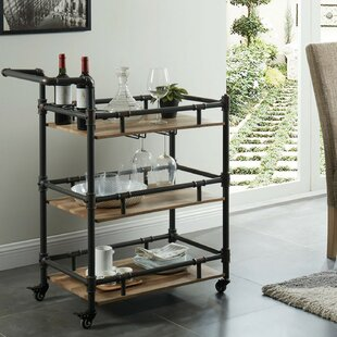 Nickolas Rustic 3 Tier Wood and Metal Bar Cart
